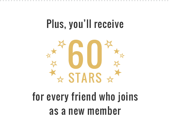 You'll receive 60 stars